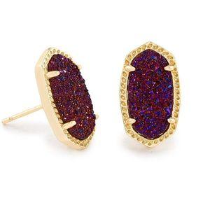 Kendra Scott Ellie Stud Earrings - Plum Drusy